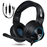 NUBWO Gaming Headset for Xbox One PS4 PC Gaming and Nintendo Switch,Stereo Surround Noise Cancelling Over Ear Gaming Headphones with Mic Volume Control for Xbox 1 S Playstation 4 Laptop,PC,Mac,iPad (Color: Blue)