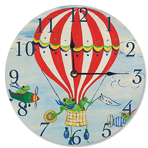 The Kids Room by Stupell It's a Boy Frogs in a Hot Air Balloon Wall Clock