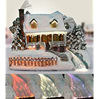 Christmas Snow Village Fiber Optic House Log Cabin Mountain Home Collectible Ships Freight Free