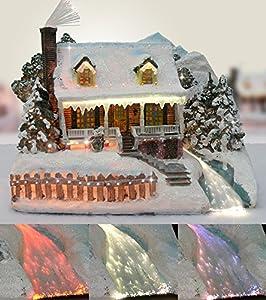 Christmas Snow Village Fiber Optic House Log Cabin Mountain Home Collectible