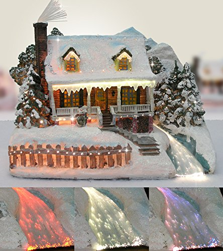 Christmas Snow Village Fiber Optic House Log Cabin Mountain Home Collectible