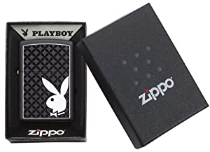 Zippo Playboy Black Matte Lighter (Color: Black Matte with White Bunny, Tamaño: One Size)