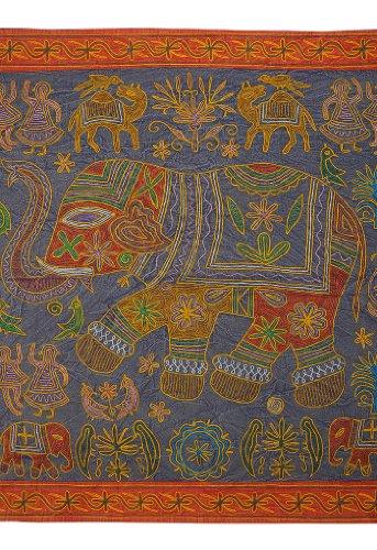 Imagen 1 de Elephant algodón Tapices de pared colgante con tamaño del bordado de trabajo 34 x 34 pulgadas