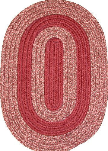 Veranda Patio 4' x 6' Oval Braided Rug in Brick & Tan Tweed