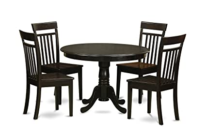 East West Furniture HLCA5-CAP-W 5-Piece Kitchen Nook Dining Table Set, Cappuccino Finish