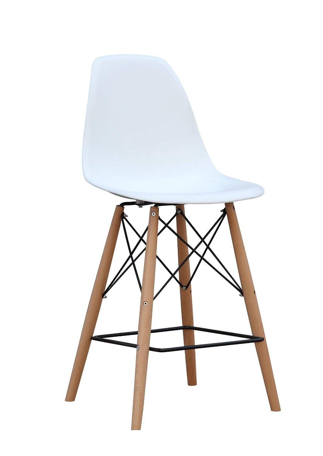 ModHaus Mid Century Modern Eames DSW Style White Counter Stool Chair with Dowel Wood Base