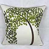 """Lily Cindy Cotton Linen Decorative Throw Pillow Cushion Covers Pillowcase Shell Green Tree Embroidery 18"""" X 18"""""""