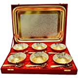 Odna Bichona Royal Wedding Gift Silver And Gold Plated Brass Bowl And Tray Set Of 13 Pcs (37.465X27.94X27.305,...