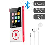 MP3 Player with Bluetooth and FM Radio,16GB Portable HIFI Lossless Sound MP3/MP4 Music Player with Pedometer/Voice Recorder/Earphone for Sports,50 Hours Playback (Max expand to 128GB) by Puersit (Color: Red+White)