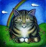 Tabby at Rainbow Bridge. Original Heidi Shaulis Handmade oil cat painting