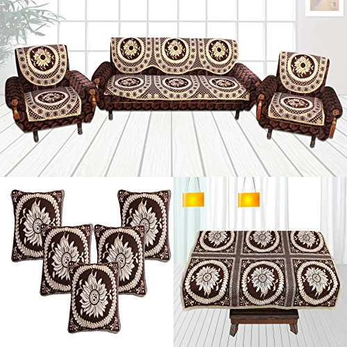 Furnishing Zone Brown 12 Piece Sofa Cover, Cushion Cover and Table Cover Set – 5 Seater