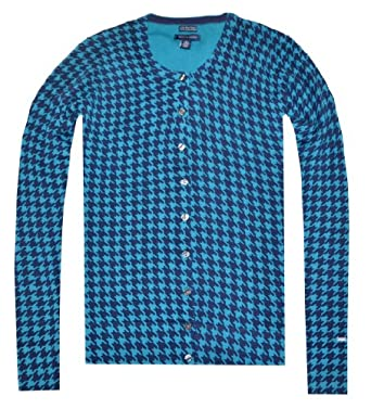Tommy Hilfiger Women Houndstooth Print Cardigan (S, Dark Teal/Navy)