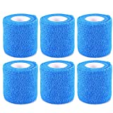 Self Adherent Wrap Tape Self Adhering Stick Bandage Flexible Stretch Athletic Tape for Sports Power Tape Strong Grip for Sprain Swelling and Soreness on Wrist and Ankle Etc Blue 6 Pack By Yosoo