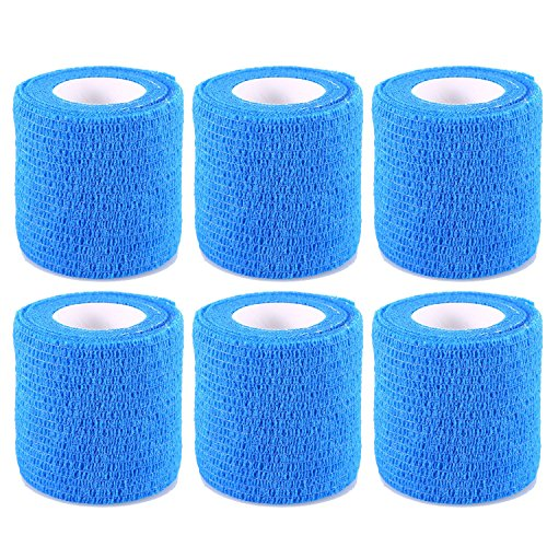 Self Adherent Wrap Tape Self Adhering Stick Bandage Flexible Stretch Athletic Tape for Sports Power Tape Strong Grip for Sprain Swelling and Soreness on Wrist and Ankle Etc Blue 6 Pack By Yosoo (Light Blue Sports Tape compare prices)