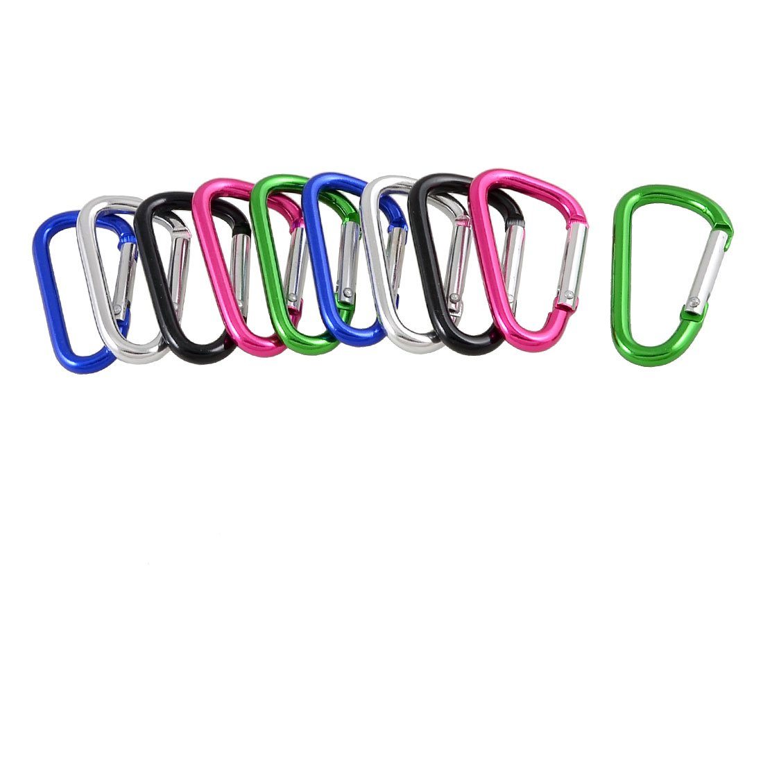 10 Pcs Colorful D Shaped Aluminum Alloy Carabiner Keychain 0 6cm d shaped aluminum alloy carabiner