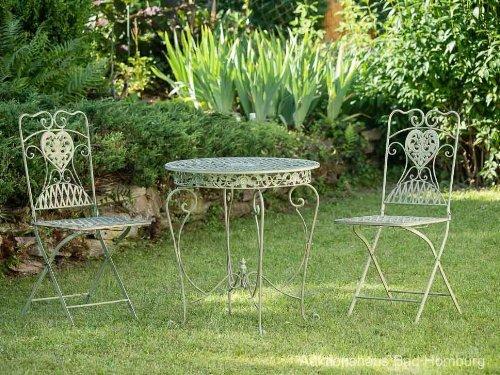 Gartentisch und 2 Stühle Eisen Antikstil Gartenmöbel in hellem creme grün garden