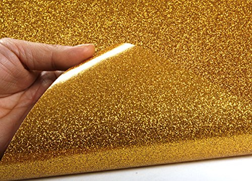 Peel stick glitter sand bubble free interior film gold for Paintable peel n stick wallpaper