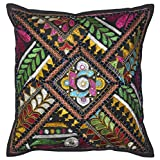 Lalhaveli Bright Stunning Floral Design Embroidered Mirror Work Cotton Single Cushion Cover 16 Inches - B00MY0QJX6
