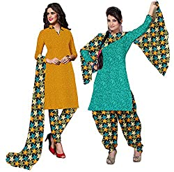 Ethnic For You Crepe Unstitched Salwar Suit Dress Materials(YELLOW,RAMA)