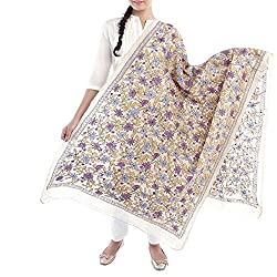 Kiara Crafts Women's Dupatta (kc-021_White_Freesize)