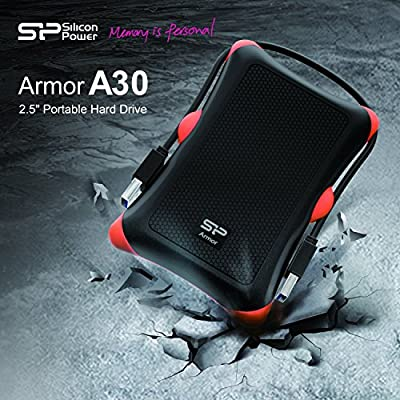 Silicon Power 2TB Rugged Armor A30 Military Shockproof Standard 2.5-Inch USB 3.0 External Portable Hard Drive - Black (SP020TBPHDA30S3K)