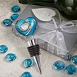 Wine Bottle Stopper Wedding Favor - Stunning Murano Blue Heart Shaped Wine Bottle Stopper
