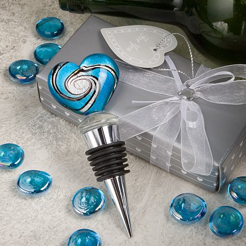 Stunning Murano Heart Wine Bottle Stopper Wedding Favors, 1