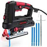 Jigsaw, METERK Upgraded 800W 6.7 Amp 3000 SPM Jig Saw with Laser Guide & LED, 6 Variable Speed, 4PCS T-Shank Saw Blades, Scale Ruler, 78.74 Inches Cord, ±45°Bevel Cutting Angle (Color: Red & Black)