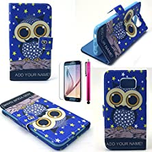 buy S6 Edge Case, Jcmax Owl Pattern [Wallet Feature] Top Grade Pu Leather Cover With Folio Flip Stand Feature For Samsung Galaxy S6 Edge (1 X Screen Protector 1 X Stylus Pen)-Blue-Owl