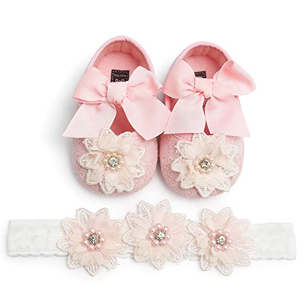 Babies pink headbands with matching  flowers  0-6 months