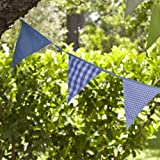 Lakeland Garden Party Summer 100% Cotton Bunting - Blue Stripe & Checks (5m)