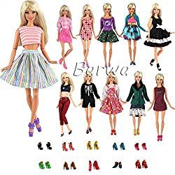 Barwa Random Mix Style 10 Sets Fashion Casual Wear Clothes/outfit with 10 Pair Shoes for Barbie Doll Xmas Gift