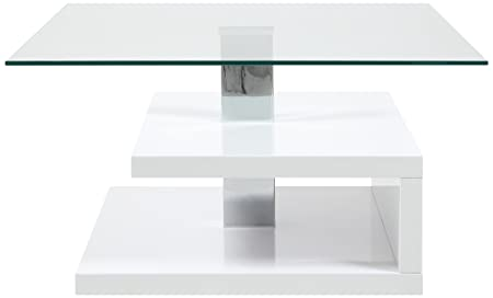 AC Design Furniture H000015092 Couchtisch Lewi, Klarglasplatte, ca. 78 x 43 x 78 cm, weiß hochglanz