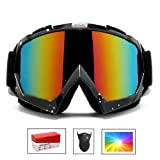 Feier Yusi Ski Snowboard Motorcycle Goggles for Men Women Youth,Outdoor Tactical Glasses with Colorful-Lens UV 402 Protection Anti Fog & Dust, Fit for Skiing Motorcycling - with Box & Mask (Color: Color lens Black, white spots frame, Tamaño: Standard)