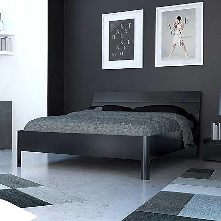 Einzelbett in Schwarz Hochglanz modern Breite 146 cm Tiefe 196 cm Liegefläche 140x190 Pharao24