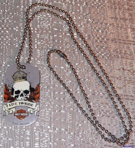 Harley Davidson Motorcycles LIVE TO RIDE Skull Gray Metal DOGTAG w/ 20