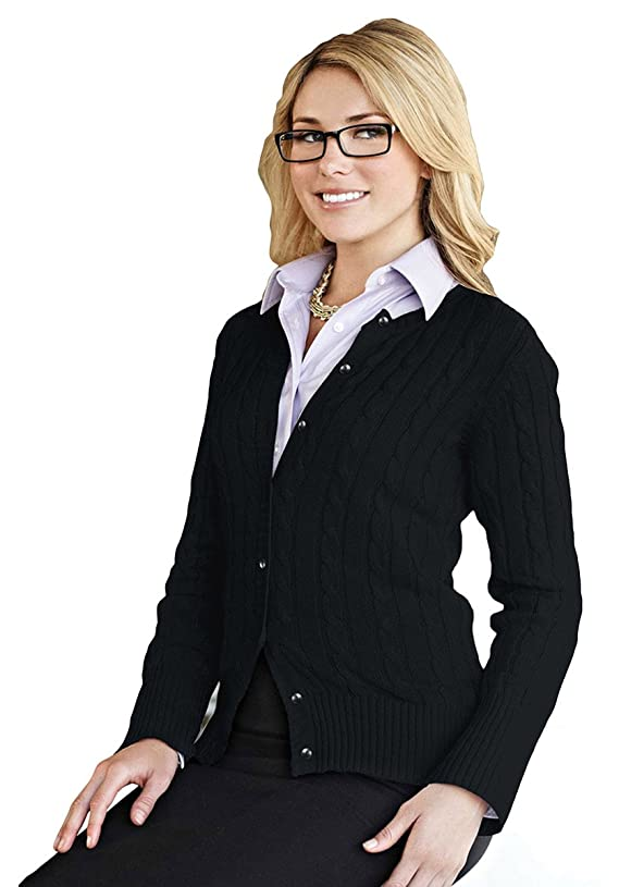 Tri-mountain Women 100% Cotton Long Sleeves Cable Sweater Cardigan BLACK