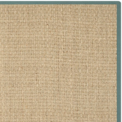 Safavieh Natural Fiber Collection NF114M Natural Background and Light Blue Border Seagrass Area Rug, 3 feet by 5 feet (3' x 5')