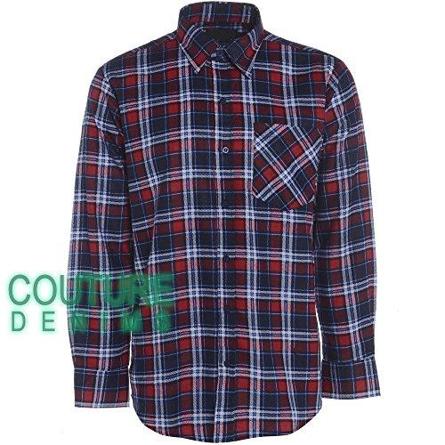 Herren-Hemd, Baumwolle, Flanell Holzfäller, Warm, mit Arbeitsplatte Country