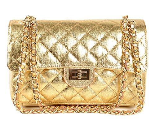 Limited Vip Gold Designer Tasche Leder Handbag gesteppte Echtledertasche Handtasche Abendtasche Schultertasche City Goldkette Lederkette Italy Tote Bag Clutch thumbnail