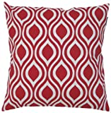 JinStyles Cotton Canvas Ogee Accent Decorative Throw Pillow Cover (Red, White, Square, 1 Cover for 18 x 18 Inserts)