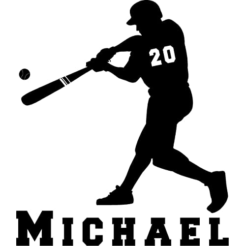 Personalized mens or women softball batter with name and number vinyl wall decal Customized KIDs room decor wall decal art
