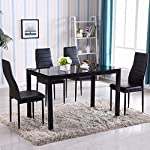 Gracelove 5 Piece Glass Metal Kitchen Dining Table Set 4 Chairs (Type 1, Color 1)