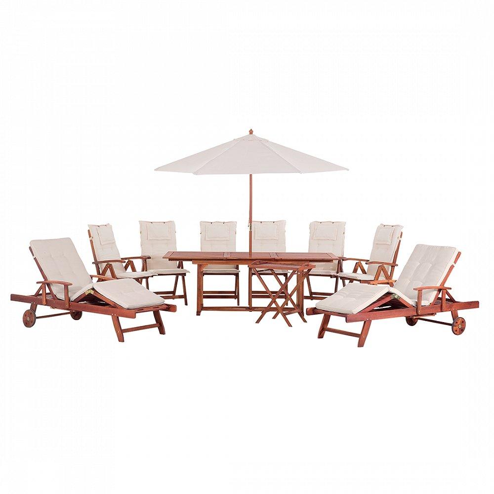 Gartenmöbel Set aus Holz – Tisch eckig – 6x Stuhl – 2x Liege – Sonnenschirm – TOSCANA beige günstig online kaufen
