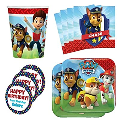 Paw Patrol Birthday Party Supplies Set Plates Napkins Cups Kit for 16 Plus Stickers