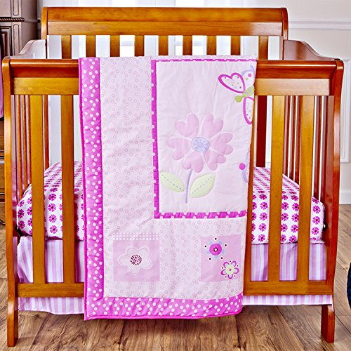Dream On Me 3 Piece Set Reversible Portable Crib Bedding Set, Pink Butterfly and Flower - 1