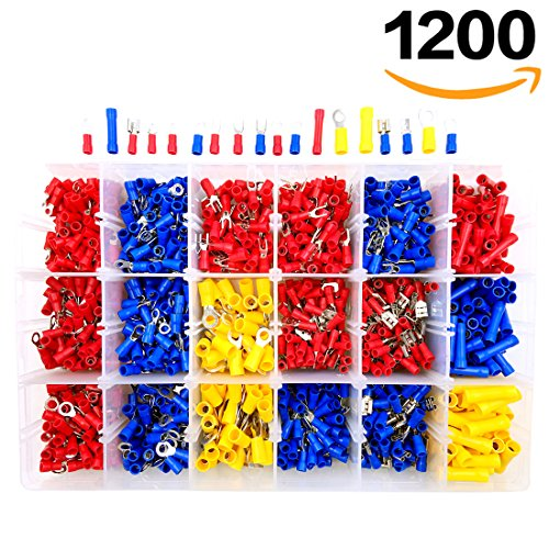 1200pcs Wire Connectors, Sopoby Mixed Assorted Lug Kit Insulated Electrical Crimp Connector Crimp Ring Terminal Spade Connectors Set (Wire Terminal Kit compare prices)