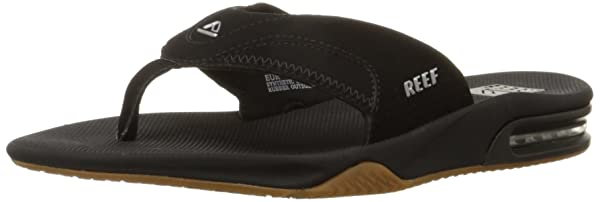 Reef Mens Fanning Flip Flop 10 D BLACK//SILVER Medium