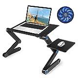 Laptop Table, Adjustable Laptop Bed Table, Portable Laptop Workstation Notebook Stand Reading Holder,Ergonomic Lap Desk TV Bed Tray Standing Desk (Color: Black)