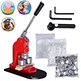Mophorn Button Maker Badge Maker Machine Badge Punch Press Pin Button Maker with Free Button Parts and Circle Cutter (500pcs, 75mm) (Color: 500pcs, Tamaño: 75mm)